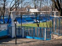 Entrada ao estádio do dínamo nomeado após o grande jogador de futebol ucraniano Valeriy Lobanovskiy fotografia de stock