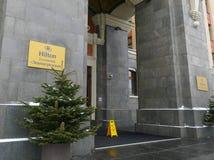 Entrada ao hotel Leningradskaya - Hilton Fotografia de Stock Royalty Free
