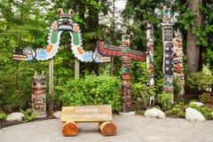 Entrada ao parque regional do rio de Capilano, Vancôver imagem de stock