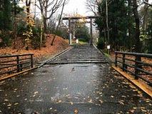 A entrada ao santuário no Hokkaido, Japão Fotos de Stock Royalty Free