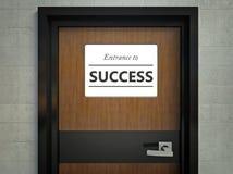 Entrada ao sinal do sucesso que pendura na porta do escritório ilustração royalty free