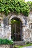 Entrada arqueada bloqueada en una pared resistida cubierta con la hiedra foto de archivo libre de regalías