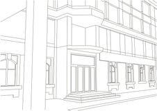 Entrada arquitetónica linear da construção do esboço Imagem de Stock Royalty Free