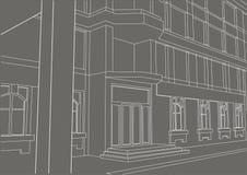 Entrada arquitetónica linear da construção do esboço no fundo cinzento Fotografia de Stock Royalty Free