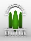 Entrada com arco e balaustrada Imagens de Stock Royalty Free
