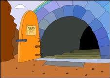 A entrada com porta aberta ilustração do vetor