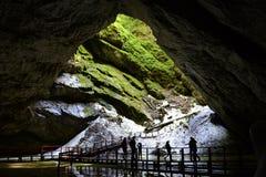 Entrada da caverna de Scarisoara, montanhas de Apuseni, Romênia fotografia de stock
