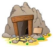 Entrada da mina dos desenhos animados ilustração do vetor