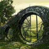 Entrada da porta ao jardim encantado ilustração stock