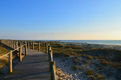 Entrada da praia de Viana do Castelo, Portugal Fotos de Stock Royalty Free