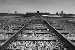 Entrada de Auschwitz - de Birkenau Imagen de archivo libre de regalías