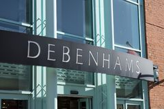 Entrada de Debenhams y muestra y logotipo fotos de archivo