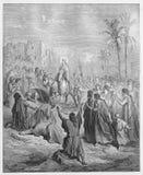 Entrada de Jesús en Jerusalén stock de ilustración