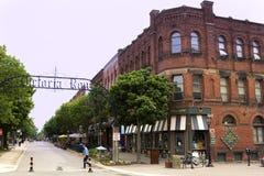 Entrada de la arcada a Victoria Row en Charlottetown en Canadá Foto de archivo