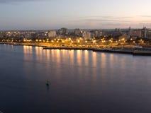 Entrada de la bahía de La Habana en puesta del sol Foto de archivo libre de regalías