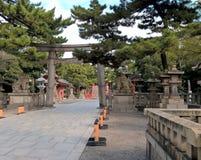 Entrada de la capilla de Sumiyoshi Taisha Imágenes de archivo libres de regalías