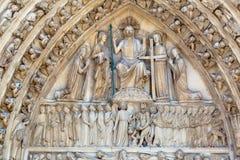 Entrada de la catedral París de Notre Dame Fotos de archivo