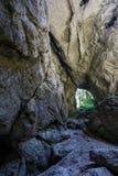Entrada de la cueva de Cetatile Ponorului Foto de archivo