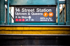 Entrada de la estación de metro de NYC Imagen de archivo