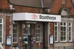 Entrada de la estación de Scunthorpe - Scunthorpe, Lincolnshire, K unida imagen de archivo