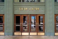 Entrada de la estación de la unión en Chicago imagen de archivo libre de regalías