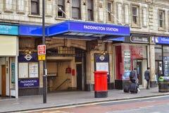Entrada de la estación del metro de Londres Paddington Fotos de archivo libres de regalías