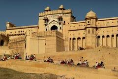Entrada de la fortaleza ambarina en Jaipur Imágenes de archivo libres de regalías