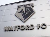 Entrada de la hospitalidad, estadio del club del fútbol de Watford imagen de archivo