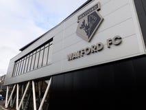 Entrada de la hospitalidad, estadio del club del f?tbol de Watford imagen de archivo libre de regalías