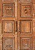 Entrada de la iglesia - puertas de madera Imagen de archivo