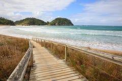 Entrada de la playa en Nueva Zelanda Fotografía de archivo