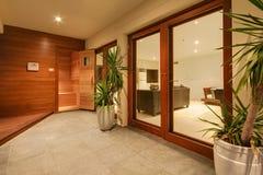 Entrada de la sauna Foto de archivo libre de regalías