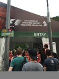 Entrada de la seguridad a Singapur F1 Grand Prix 2015 en Marina Bay, de sept. de Singapur el 18 de 2015 Foto de archivo
