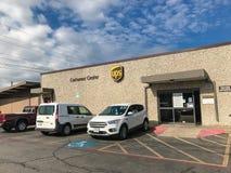 Entrada de los centros del cliente de UPS en Dallas, Tejas, América fotografía de archivo