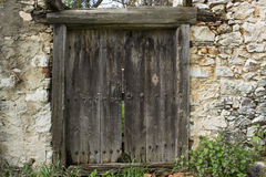 Entrada de madera antigua Imagen de archivo libre de regalías