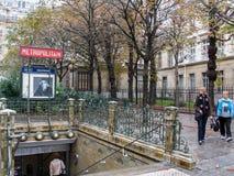 Entrada de Paris Metropolitain Fotos de Stock Royalty Free