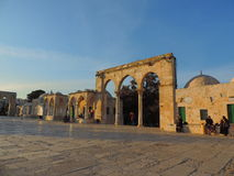 Entrada de pedra da mesquita do al-Aqsa, Jerusalém Imagens de Stock