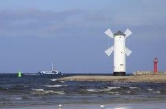 Entrada de porto de Swinoujscie, Poland Foto de Stock Royalty Free