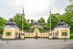 Entrada de Skansen | museu ao ar livre sueco fotos de stock royalty free