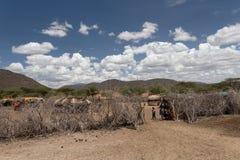 Entrada de una aldea tribal de Samburu Imágenes de archivo libres de regalías