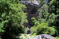 Entrada de una cueva en la selva Imágenes de archivo libres de regalías