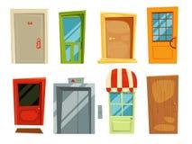 Entrada decorativa e portas retros diferentes no estilo dos desenhos animados Imagens do vetor ajustadas ilustração stock