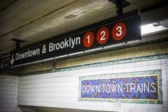 Entrada del metro de New York City imagen de archivo