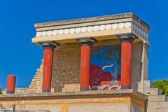 Entrada del norte al palacio de Knossos, isla de Creta Foto de archivo libre de regalías