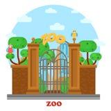 Entrada del parque zoológico con la cascada y los loros en árbol Fotografía de archivo libre de regalías