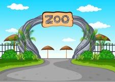 Entrada del parque zoológico sin visitantes stock de ilustración