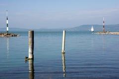 Entrada del puerto de Siofok en Hungría Fotografía de archivo