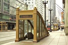 Entrada del subterráneo, Chicago, Illinois foto de archivo libre de regalías