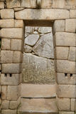 Entrada del templo de Machu Picchu, Perú Imágenes de archivo libres de regalías