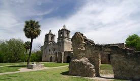 Entrada delantera inminente de la misión Concepción, San Antonio Foto de archivo libre de regalías